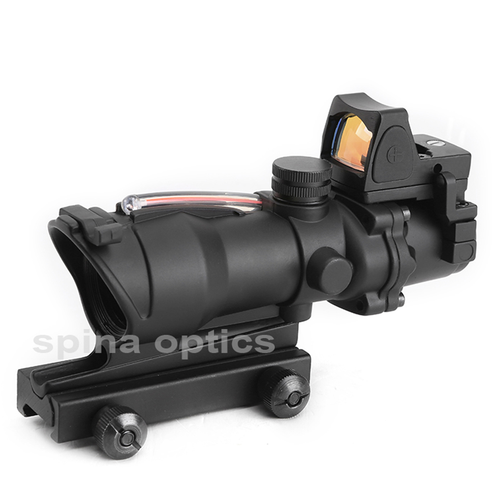 Tactical Hunting Rifle Scope Red Cahevron Reticle Real Fiber Green Illuminated Optic Sight Airsoft ACOG 4X32 With Rmr Mini Red