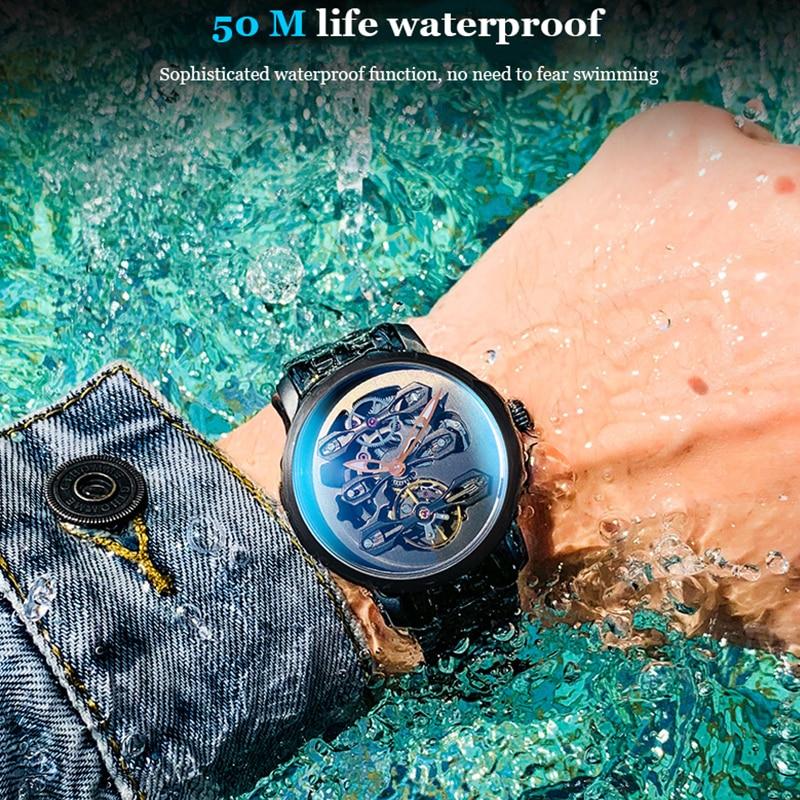 AILANG Swiss Genuine Watch Men's Mechanical Watch Automatic Hollow Waterproof New Steel Band Business Men's Watch