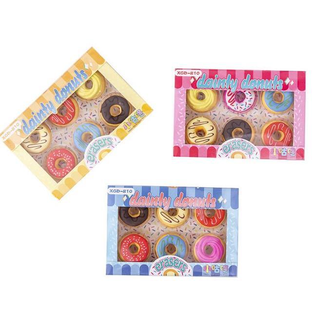 6 Pcs/pack dessin animé Mini Dessert gâteau beignets caoutchouc crayon gommes bureau école coréen papeterie écriture dessin étudiant cadeaux