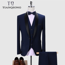 Merk Mannen Pak 2019 Wedding Suits Voor Mannen Sjaalkraag 3 Pieces Slim Fit Bourgondië Suit Mens Royal Blue Tuxedo jas QT977(China)