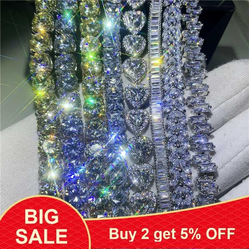 8 Stijl Trendy Vrouwelijke White Gold Filled Armband Aaaaa Zirkoon Cz Zilver Kleuren Bruiloft Armbanden Voor Vrouwen Mode Jewerly