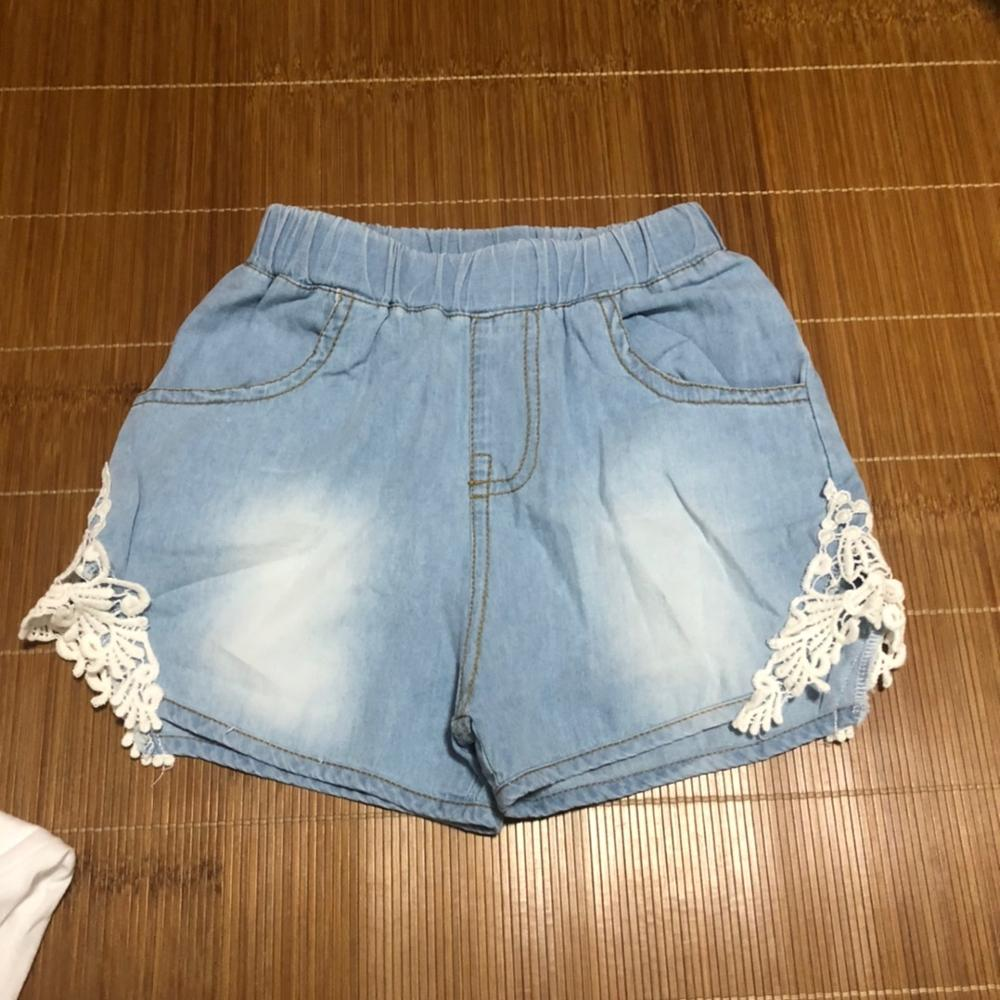 2021 Hot Summer Fashion Beauty Children Little Baby Kids Lace Edges Jeans Girls Denim Blue Shorts For 2 3 4 6 8 10 12 Years Old 3