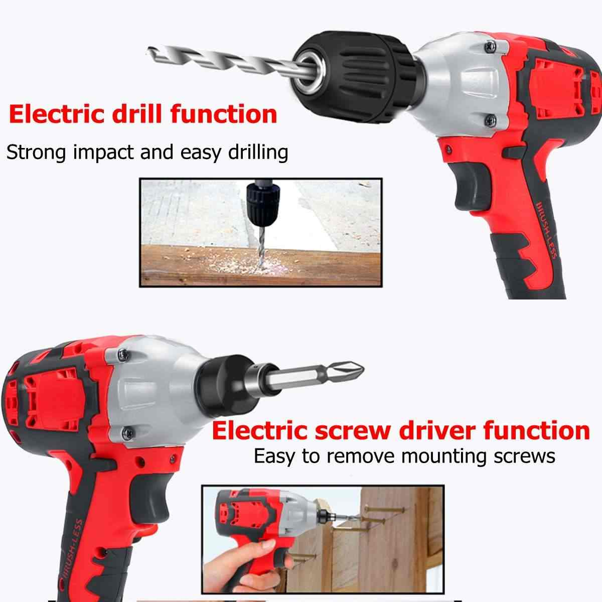 """21V 8AH Brushless Cordless Impact Electric Wrench 530Nm 28000mah Torque Household Car/SUV Wheel 1/2"""" Socket Wrench Power Tool"""