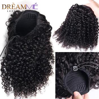 Kręcone ludzkie włosy rozszerzenie sznurkiem kucyk włosy Afro naturalne włosy klip Ins kucyk dla kobiet czarne włosy brazylijskie Remy tanie i dobre opinie Dream Me CN (pochodzenie) Remy włosy 100 g sztuka Ciemniejszy kolor tylko Perwersyjne kręcone Clip-in Pure color Brazylijski włosy