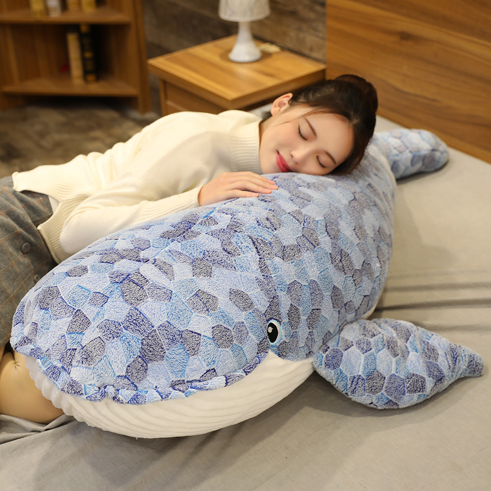 150cm Big Lovely <font><b>Blue</b></font> <font><b>Whale</b></font> <font><b>Plush</b></font> Toys Cute Soft Sleeping Pillow Shark Stuffed Animal Fish Doll for Children Girl Valentine Gift image