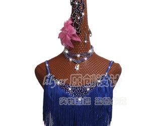 Image 2 - Shiny Rhinestones Latin Dance Dress Women Salsa Costumes High end Dance Custom Fluorescent Blue Tassel Slant Latin Dresses