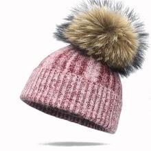 купить New Winter Wool Beanie Hat With Real Fur Pom Pom For Women Girls Solid Color Skullies Beanies Hat Warm Female Soft Beautiful Cap по цене 542.54 рублей