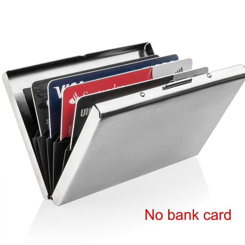 Stainless Steel Bank Credit Card Holder For Men Anti Protect Travel ID Cardholder Men Wallet Metal Case