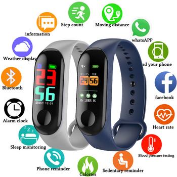 FXM inteligentna sportowa bransoletka męska i damska monitorowanie snu tętno Stepcounter wodoodporny zegarek mężczyźni i kobiety Bluetooth Link tanie i dobre opinie 28cm Cyfrowy Z tworzywa sztucznego Klamra 3Bar Cyfrowe Zegarki Na Rękę Silikon Hardlex Wyświetlacz led Auto data Kompletna kalendarz