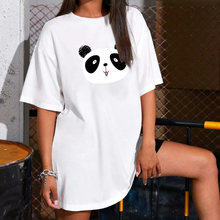 Женское платье футболка с принтом панды свободное Летнее белое