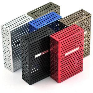 Light weight Hollow Aluminum Flip Magnet Cigarette Packs Cigarette Case Cigar Cigarette Tobacco Holder Storage Case Pocket Box(China)