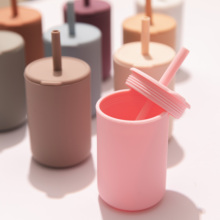 Baby Silicone Water Cups Super Soft Training Nontoxic Drinking Straw Cups for Kids with Silicone Sippy Leakproof Cup BPA-free