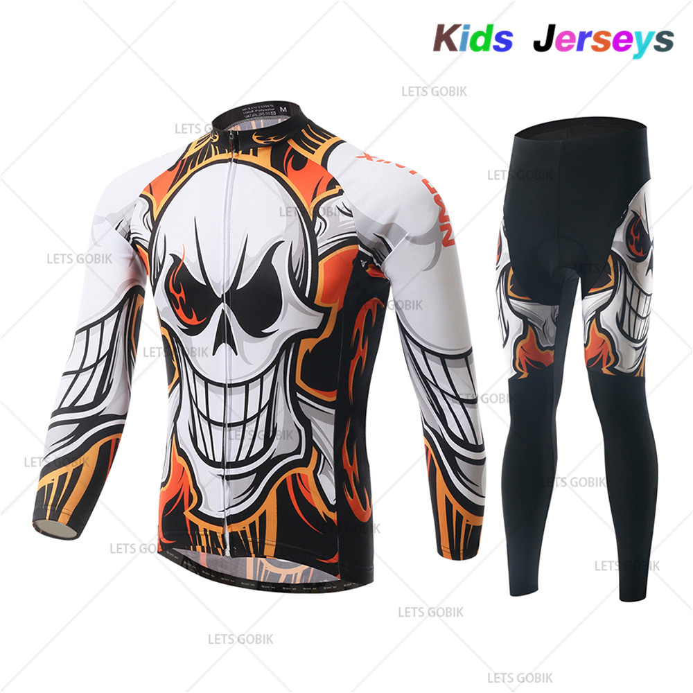 Kids Spring/Autumn Cycling Clothing Set Children Bike Clothing Breathable Bicycle Wear Boys Long Sleeve Cycling Jersey Sets
