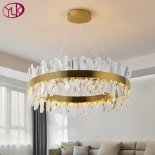Youlaike Modern LED Chandelier for living Room Luxury Crystal Chandeliers Lighting Gold/ Chrome Polished Steel Design Hang lamp