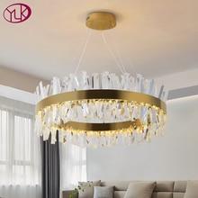 Youlaike Modern LED avize oturma odası için lüks kristal avizeler aydınlatma altın/krom cilalı çelik tasarım asılı lamba