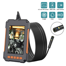 1080P HD 4.3'' Screen Endoscope Camera Professional Dual Lens Inspection Camera Handheld IP67 Snake Camera with 8 LED 32GB Card