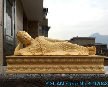 Taiwanese Birch Sakyamuni Buddha home business office ornaments carving crafts imported boxwood carving sleeping Buddha