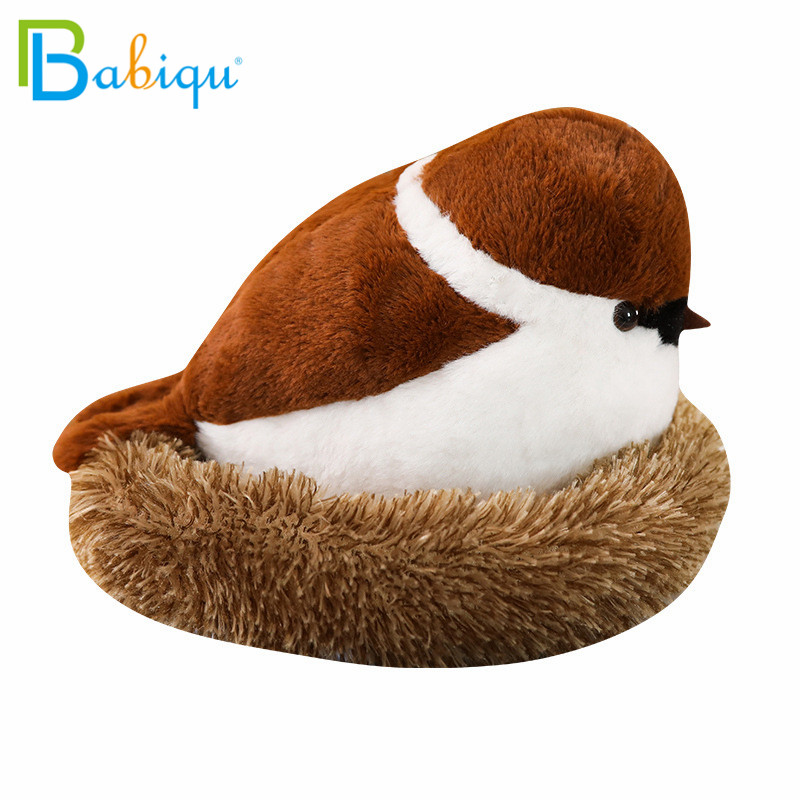 Soft Adroable Realistic Stuffed Bird Animal Sparrow Plush Toys With Fluffy Nest Creative Soft Toys For Children Funny Gift