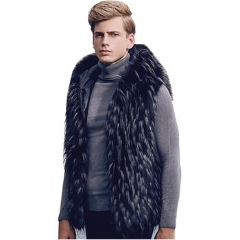 Men Sleeveless Vest Casual Faux Fur Outwear Waistcoat Coat Warm Sz Hooded D100