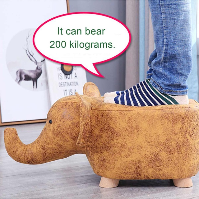 NEW Elephant Hippo Animal Shape Solid Wood Be Home Baby Cute Cartoon Sofa Stool Elephant Children Small Bench 2