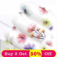 ZKO 1 PC Transparent couleur fleur transfert d'eau autocollant Nail Art décalcomanies bricolage mode enveloppes conseils manucure outils