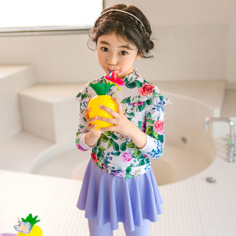 South Korea New Style KID'S Swimwear Cute Floral Girls Sun-resistant Long Sleeve Trousers Princess Dress Split Type Two-Piece Sw
