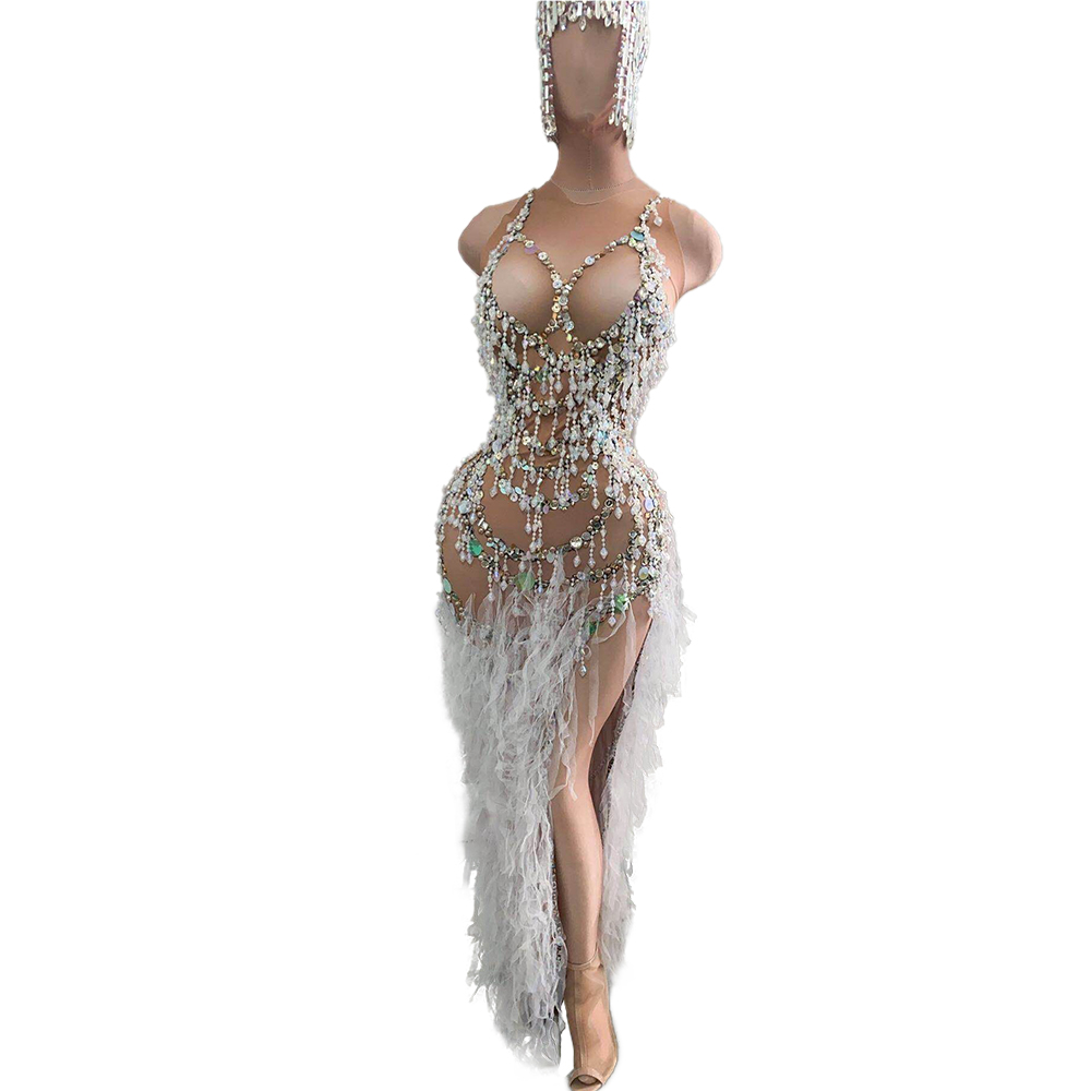 Fashion Skin Color Nude Tassel Crystal Bodycon Dress Sexy Women Party Club Dress High Slit Singer Rhinestone Dress Stage Outfits