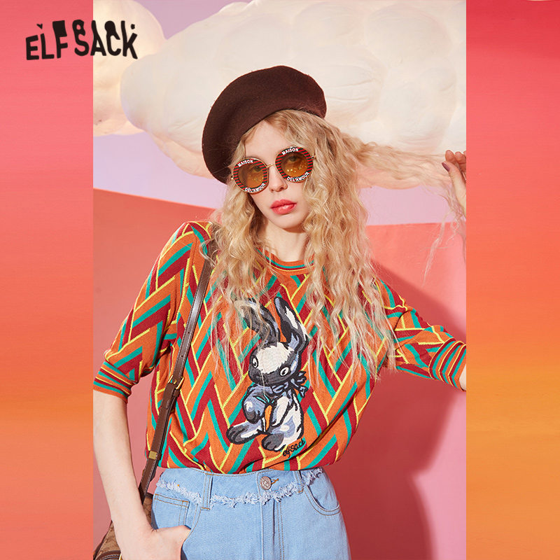 ELFSACK Orange Cartoon Embroidery Knit Casual Pullover Sweater Women 2020 Spring Vintage Colorblock Half Sleeve Ladies Daily Top