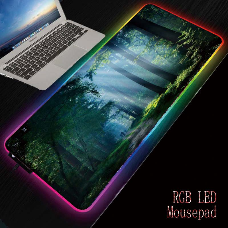 Mairuige Forest Sunlight USB Wired Colorful Backlit LED RGB Gaming Mouse Pad Desktop Mat For Gamer Laptop Computer Mice Mousepad