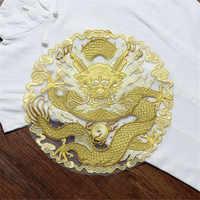 1 PCS Grande Rotonda D'oro Drago Ricamato Patch Sew On Appliques Indumento Toppe e Stemmi per la Moda Cheongsam Vestito Da Cerimonia Nuziale Accessorio