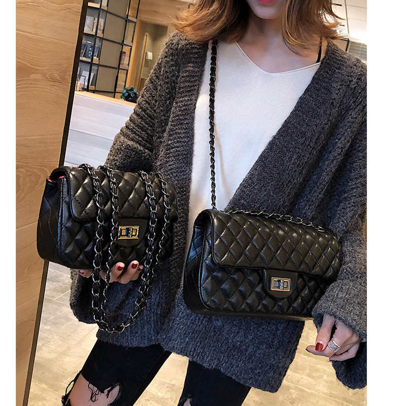 Famous Brand Women Messenger Bag PU Leather High Quality Plaid Shoulder Bag Chain Bag Fashion Female Cross Body Bag