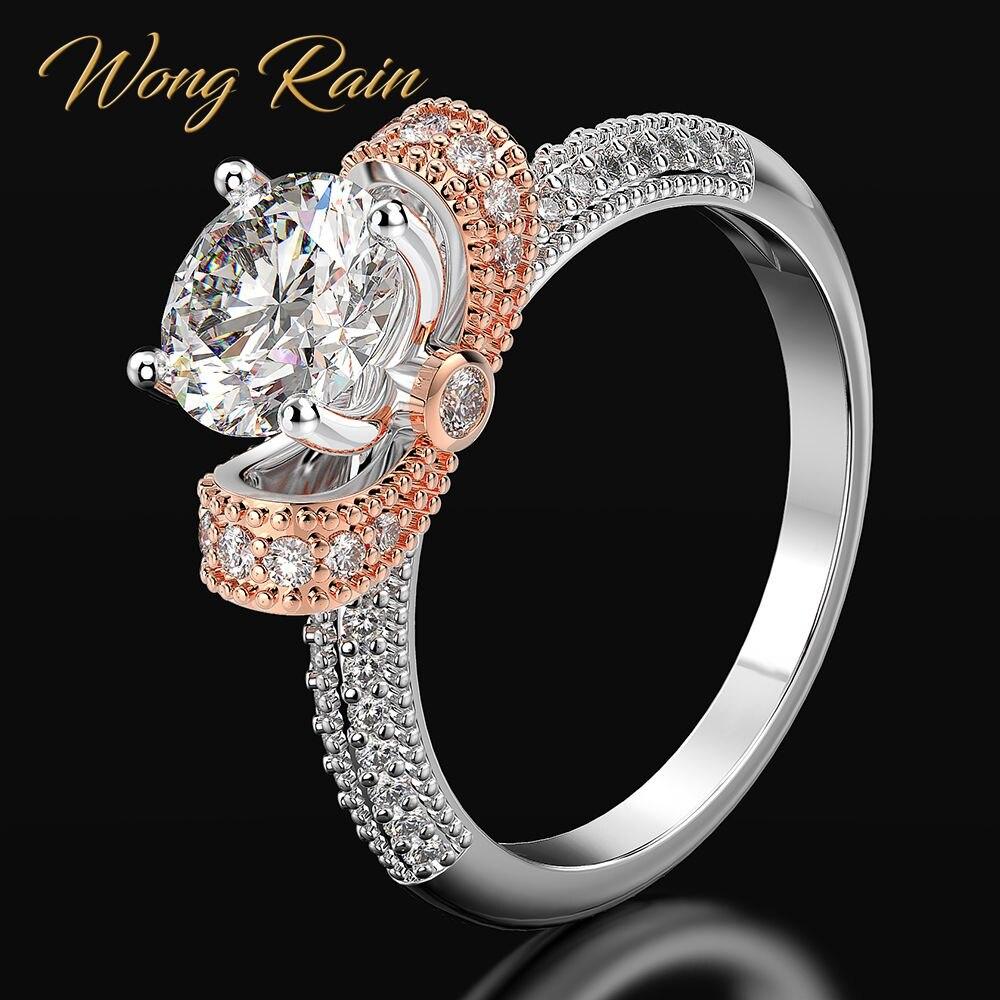 Wong Rain à la mode 100% 925 en argent Sterling créé Moissanite pierres précieuses de mariage fiançailles diamants bague Fine bijoux en gros