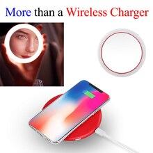 Portatile LED Illuminato Mini Circolare Specchio Per Il Trucco Compatto Da Viaggio Sensing Illuminazione di Specchio Cosmetico Wireless di Ricarica USB