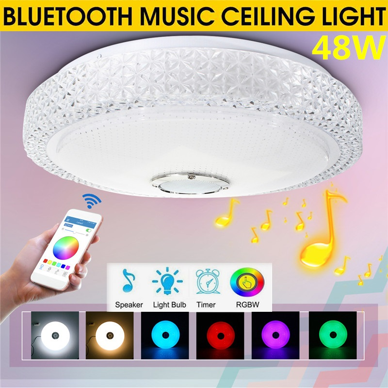 Smuxi Ceiling Lights Modern 48W RGB Smart Dimmable bluetooth Music APP Remote Control Lamp Bedroom Ceiling Lamp AC110-260V image