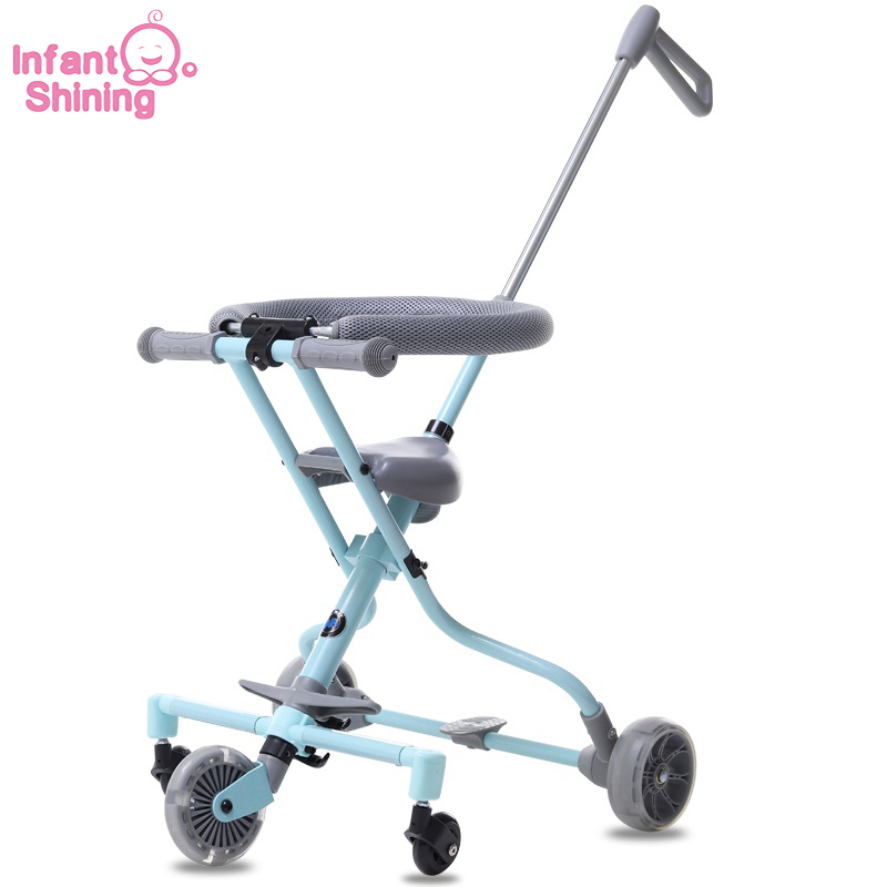 Infant Shining Baby Stroller Ride on Bike ultra lightweight folding 3 5Y Children Trolley High Landscape Umbrella Baby Trolley