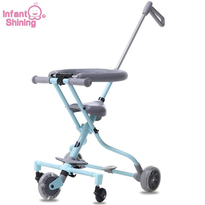 Nourrisson brillant bébé poussette monter sur vélo ultra-léger pliant 3-5y enfants chariot haut paysage parapluie bébé chariot