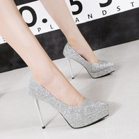 European and American Sexy Waterproof Platformwomens Shoes Shallow Sequined Stiletto Heels Women Shoe 121104