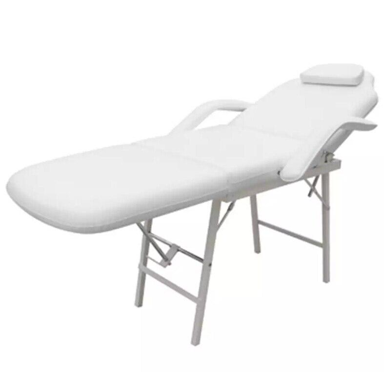 New Hot Chaise Longue Vidaxl Cream White Reclining And Folding Treatment Chair Folding Bed Massage Chair Modern Furniture