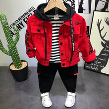 Spring Autumn Children Boys Clothing Sets 3pcs Jacket Coat+ Shirt+pants Toddler Baby Kids Hooded Clothes Suits 2 3 8 Years Old