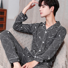Spring Autumn Pajama Sets Suit Knitted Cotton Casual Long Sleeve Sleepwear Plaid Home Wear Plus Size Comfortable Pajamas For Men