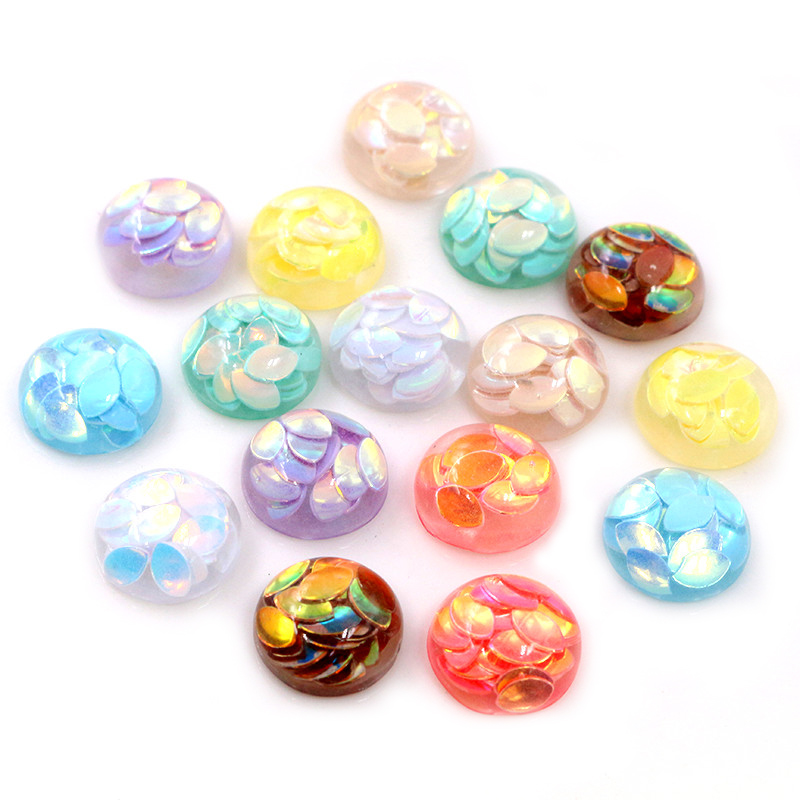 New Fashion 40pcs 12mm Mix Colors Four Seasons Falling Leaves Style Flat Back Resin Cabochon For Bracelet Earrings Accessories