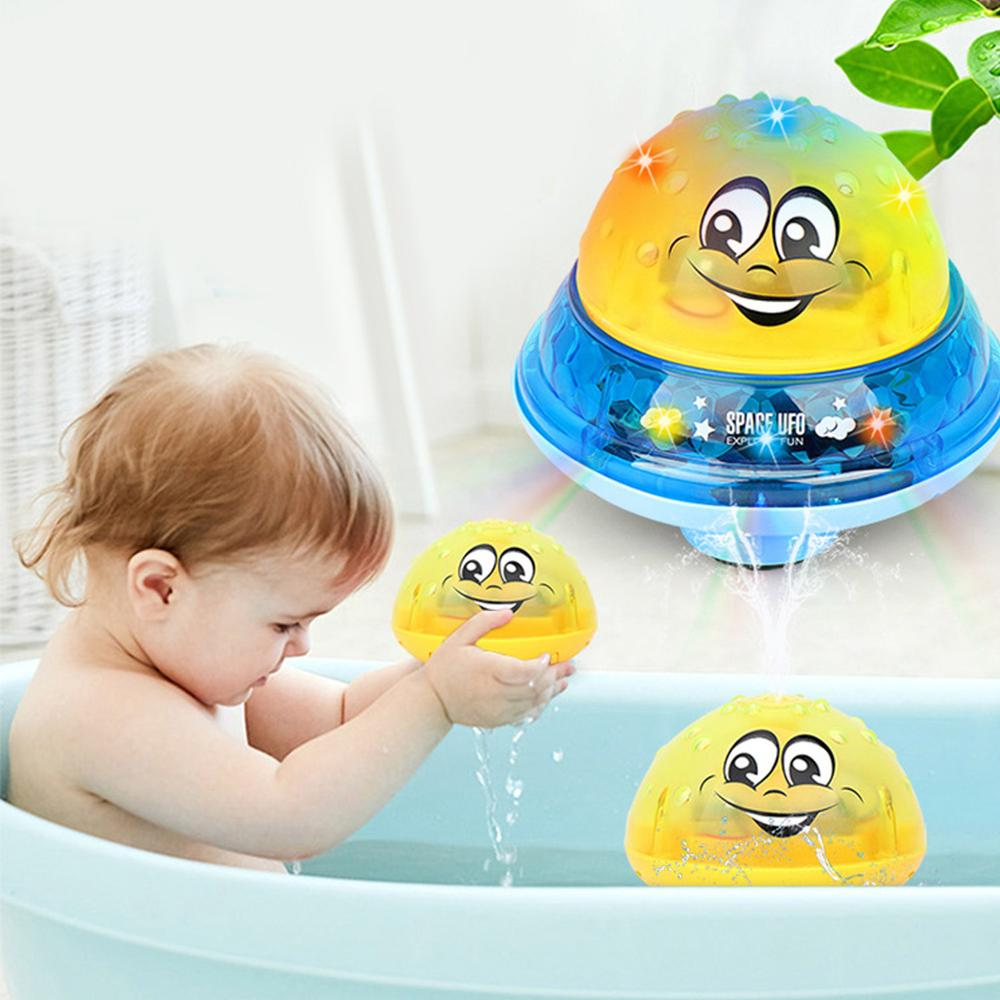 Electric Automatic Induction Spray Water Ball Sprinkler Bath Toy With Flashing Lights For Kids Toddlers Gifts