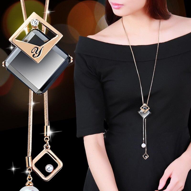 BYSPT Collier Femme Long gris cristal colliers et pendentifs pour les femmes ronde Collier de déclaration Maxi Colar chaîne bijoux de mode