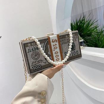 Kopertówka pieniądze USD crystal Dollar kopertówki damskie projektant luksusowe diamentowe torby wieczorowe łańcuch na ramię bgs torebki FTB283 tanie i dobre opinie FENGTING Minaudiere Torebki wieczorowe Metalowe Hasp HARD Solidna torba DRESS Brak Party WOMEN List Pojedyncze Diamenty