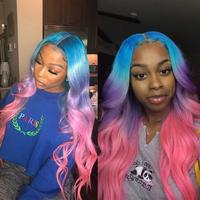 Preferred Transparent Lace Wigs Blue Purple Pink Ombre Human Hair Wig PrePlucked Remy Green Yellow Lace Front Human Hair Wigs