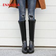 ENMAYLA 2019 Square Heel Short Plush Women Knee High Boots Fashion Luxury Shoes Designers Winter Size 34-43