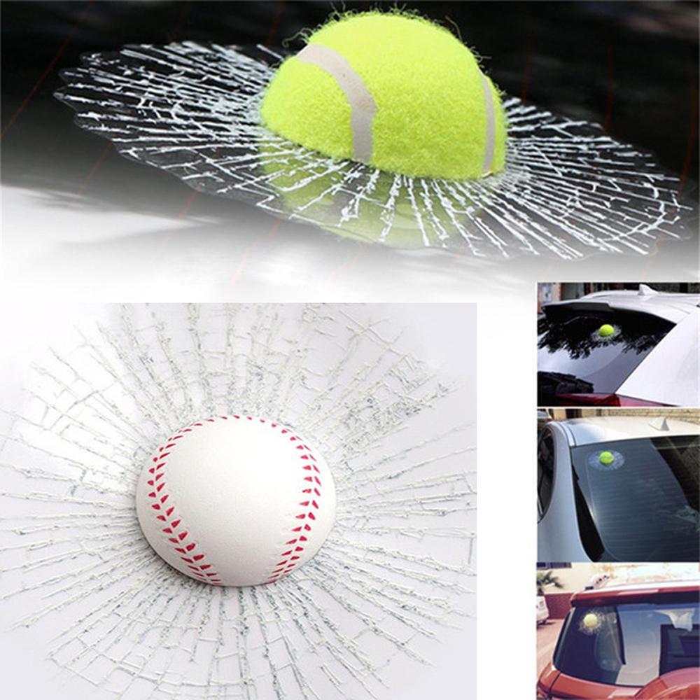 Novelty Jokes Toys Broken Glass Ball Hits Car Window 3D Sticker Baseball Football Tennis Stickers Funny Toy