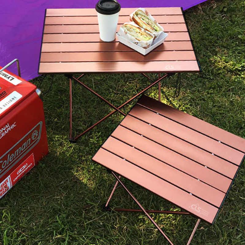 ビッグ屋外折りたたみテーブルアルミ合金ライトバーベキューポータブルピクニックレクリエーション自己運転キャンププレート 68x48x40cm