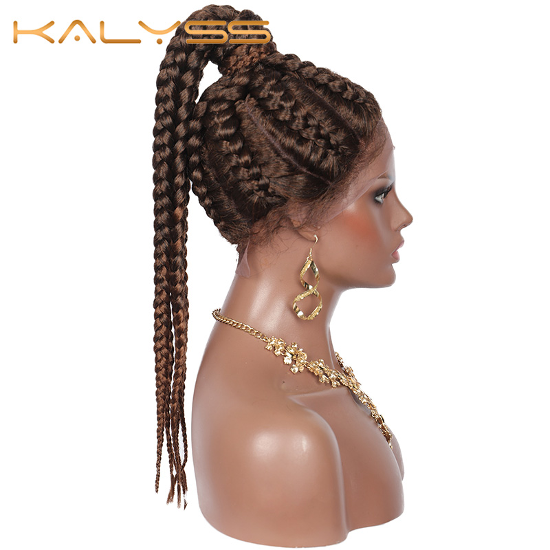 Kalyss Braided Wig Ponytail Cornrow Lace-Frontal Baby-Hair Synthetic Women Box with