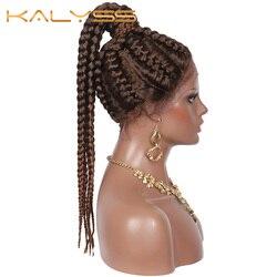 Kalyss 7 minuscule boîte tressé perruque pour les femmes 22 pouces perruques suisse dentelle avant avec bébé cheveux synthétique dentelle avant perruque dentelle tressée perruques